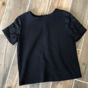 Black Knit Blouse w/ Lace Sleeves